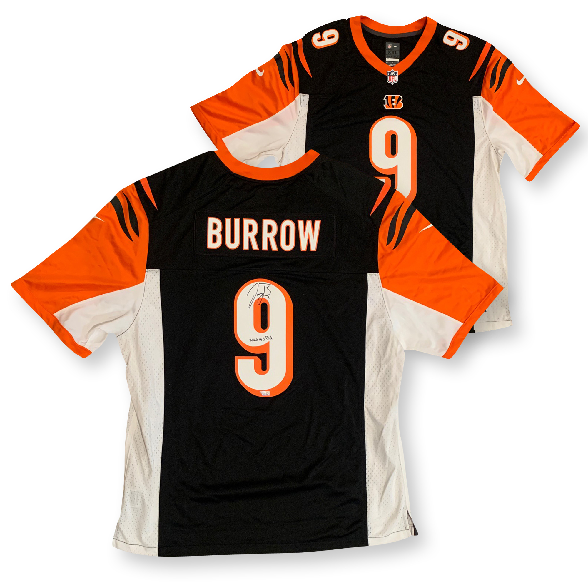 Joe Burrow Autographed Cincinnati Bengals Signed Black 2020 1ST PICK NFL Nike Game Football Jersey Fanatics Authentic COA Bengals 2020 #1 overall pick and former LSU quarterback and 2019 Heisman Trophy winner and National Champion Joe Burrow has autographed this officially licensed Bengals Nike Game jersey, size XXL and written 2020 1st PICK. Name and numbers screened on. Autograph is authenticated by Fanatics Authentic who has Burrow as their exclusive memorabilia client. Item comes with their unique hologram # on the item that is verified on their website. 100% authentic.