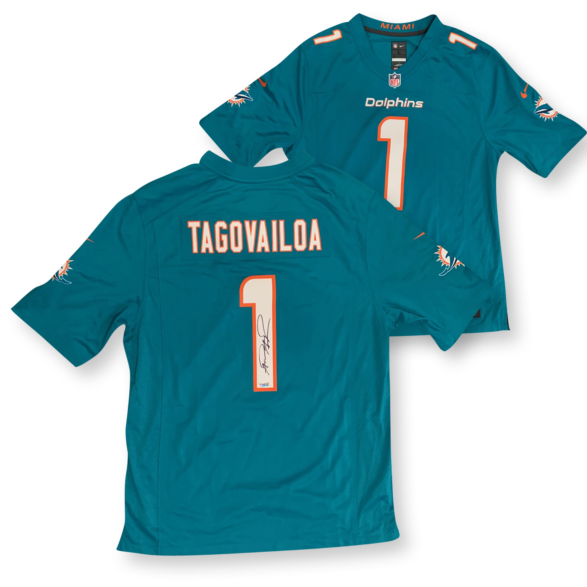 Tua Tagovailoa Autographed Miami Dolphins Signed NFL Nike Game Football Jersey Fanatics Authentic COA