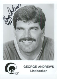 Andrews, George (Los Angeles Rams) Signed 5x7 B&W Promo Photo