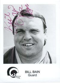 Bain, Bill (Los Angeles Rams) Signed 5x7 B&W Promo Photo (Inscribed - 62 Champs)