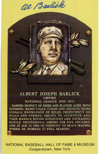 Barlick, Al Signed Hall of Fame Plaque Post Card