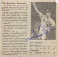 Belcher, Tim Signed 4x4 Newsprint