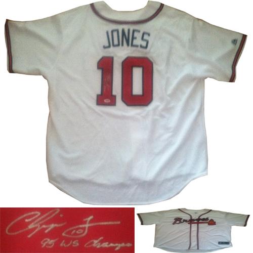 the latest 0bf87 c41d5 Chipper Jones Signed Braves 95 World Series Baseball Jersey ...
