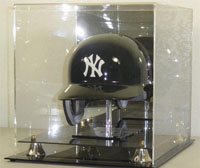 Deluxe Baseball Helmet Display Case with Stand This case has a built in back mirror with gold risers. With black base and stand included. For Full Size Helmets. Real Nice!