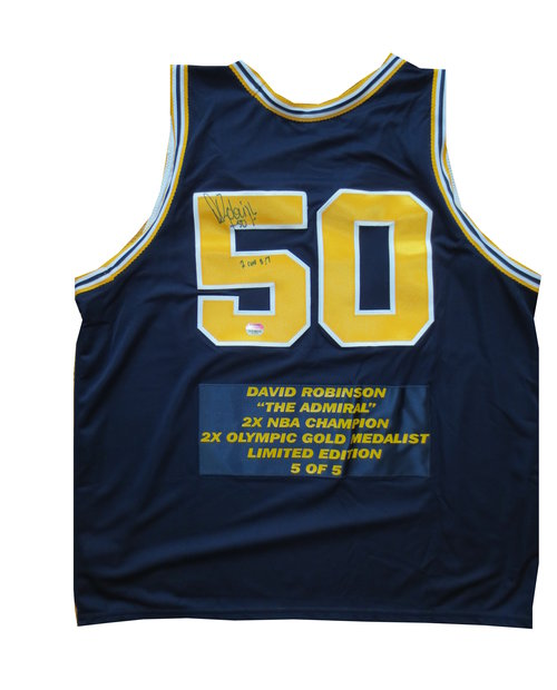 David Robinson Signed Navy Basketball Jersey LE 5 of 5 ...