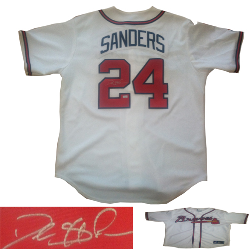 official photos 1ff28 fd7a7 Deion Sanders Signed Atlanta Braves Baseball Jersey MM COA ...
