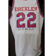 Drexler, Clyde (Houston Cougars) Signed authentic Houston Cougars jersey size 46. Individually numbered. Limited to 1250.