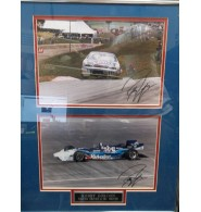 Gordon, Bobby Double signed 8x12 photo (1 each of them signed of him in NASCAR and IRL) framed and ready to be displayed on the wall