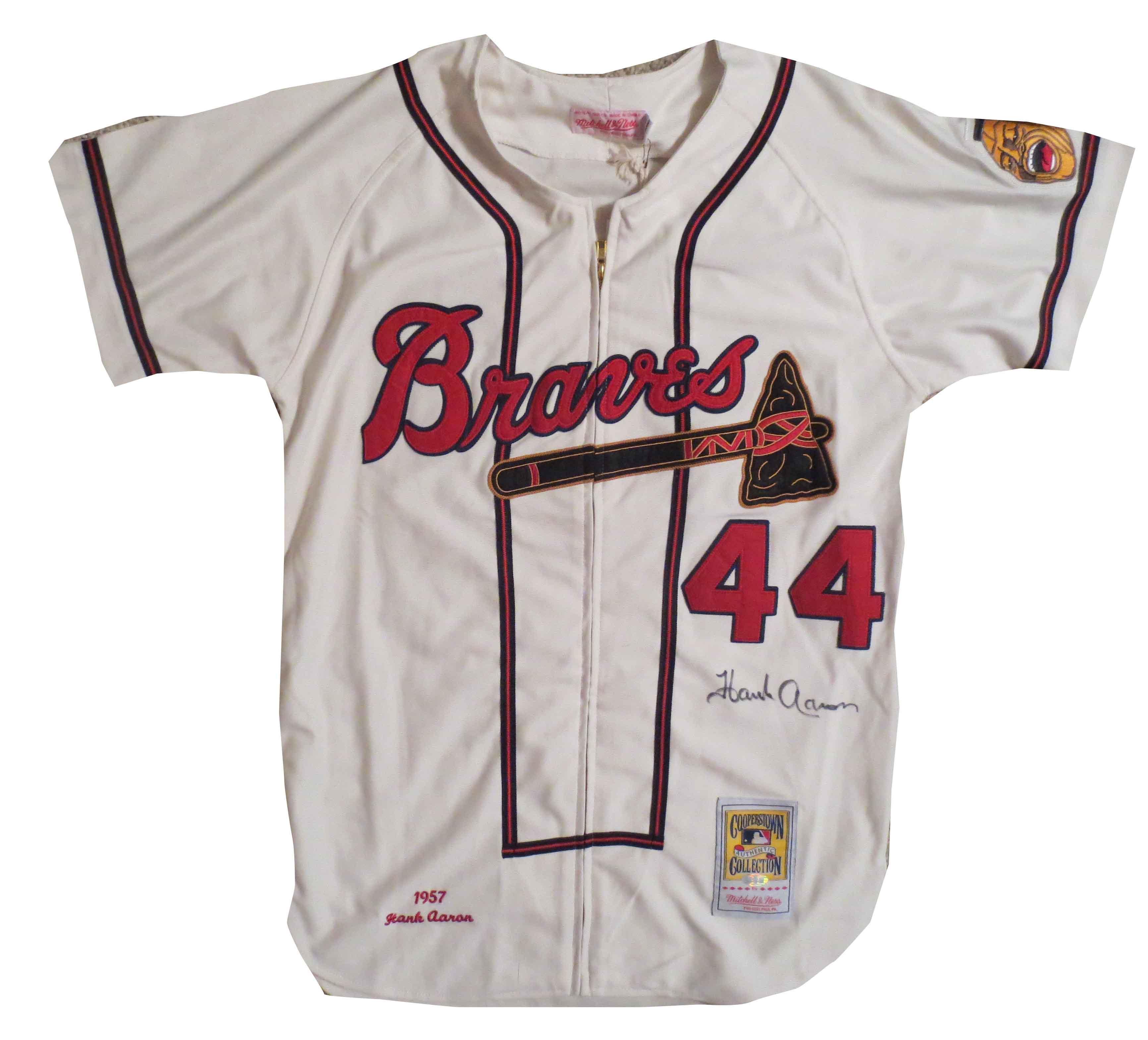 33a27c52 ... australia hank aaron autographed milwaukee braves signed baseball jersey  steiner sports hologram ca3fd 84356