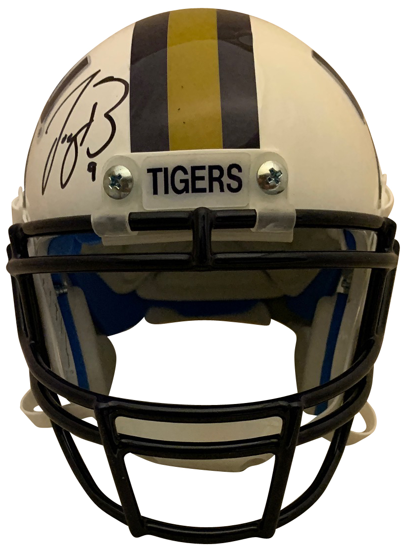 Joe Burrow Autographed LSU Tigers 2019 HEISMAN Signed White Football Mini Helmet Fanatics Authentic COA LSU quarterback and 2019 Heisman Trophy winner and National Champion Joe Burrow has autographed this officially licensed LSU mini helmet and written 19 HEISMAN.  VERY rare item. Autograph is authenticated by Fanatics Authentic who has Burrow as their exclusive memorabilia client. Item comes with their unique hologram # on the item that is verified on their website. 100% authentic.