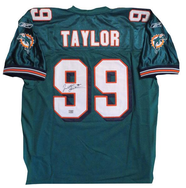 e53be6cdbf4 Jason Taylor Autographed Miami Dolphins Football Jersey - AAA COA ...