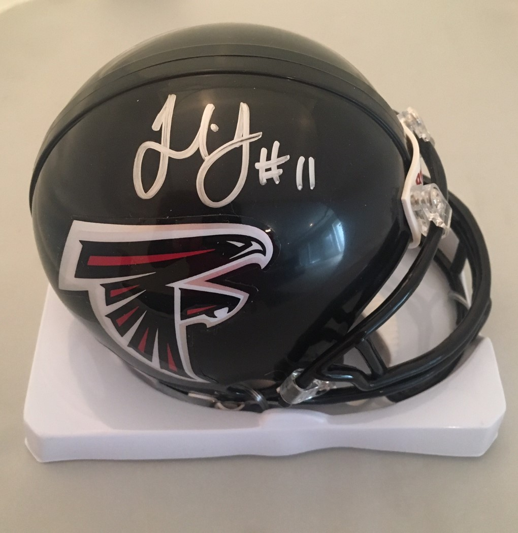 7aa9e255455 Julio Jones Autographed Atlanta Falcons Signed Football Mini Helmet JSA COA