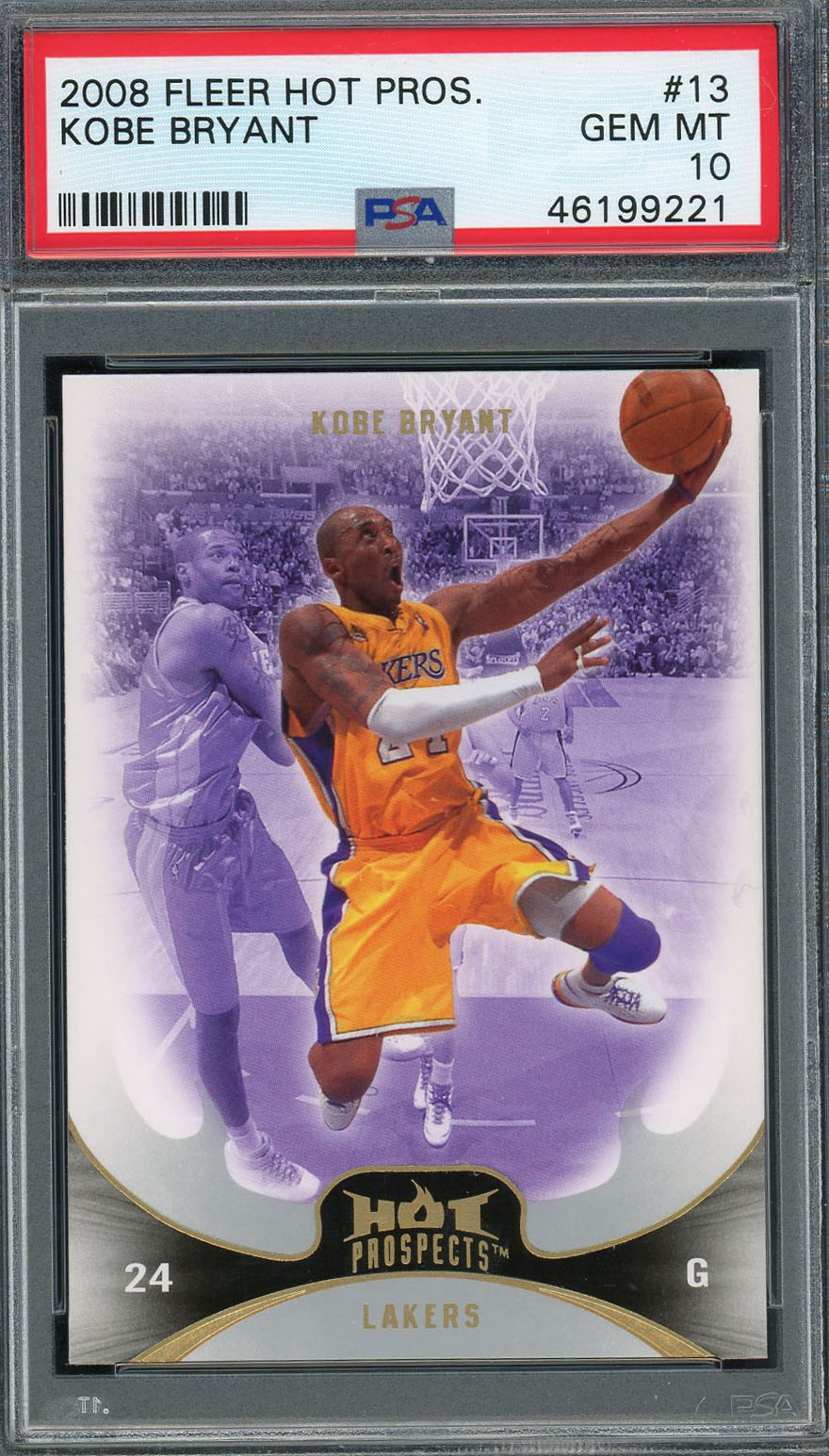 Kobe Bryant Los Angeles Lakers 2008 Fleer Hot Prospects Basketball Card #13 Graded PSA 10 GEM MINT Kobe Bryant Los Angeles Lakers 2008 Fleer Hot Prospects Basketball Card #13 Graded PSA 10 GEM MINT