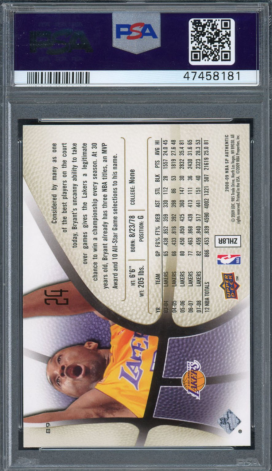 Kobe Bryant Los Angeles Lakers 2008 SP Authentic Upper Deck Basketball Card #89 Graded PSA 10 GEM MINT Kobe Bryant Los Angeles Lakers 2008 SP Authentic Upper Deck Basketball Card #89 Graded PSA 10 GEM MINT