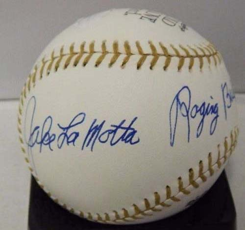 LaMotta, Jake Signed Gold Glove MLB Baseball in blue in on the side panel with inscription