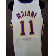Malone, Karl (Los Angeles Lakers) Signed Authentic Los Angeles Lakers Jersey Size 48. (Bottom part of jersey has dirt stains)