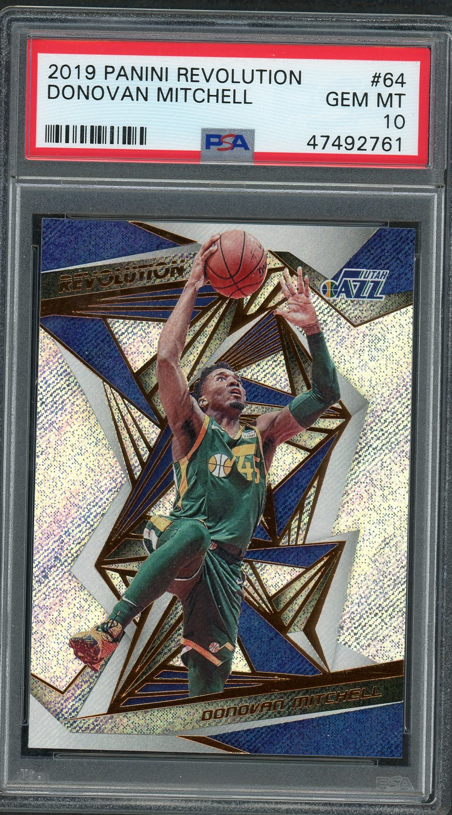 Donovan Mitchell Utah Jazz 2019 Panini Revolution Basketball Card #64 Graded PSA 10 GEM MINT Donovan Mitchell Utah Jazz 2019 Panini Revolution Basketball Card #64 Graded PSA 10 GEM MINT