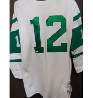 Namath, Joe (New York Jets) Signed Super Bowl III Throwback Sweater Jersey size XL.