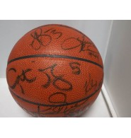 Rockets, Houston (2001-2002) Signed Spalding Indoor/Outdoor Basketball (15 Signatures in All - Tierre Brown, Kelvin Cato, Jason Collier, Steve Francis, Eddie Griffin, Dan Langhi, Cuttino Mobley, Terence Morris, Moochie Norris, Glen Rice, Kenny Thomas, Oscar Torres, Walt Williams, & Kevin Willis and Coach Rudy T)