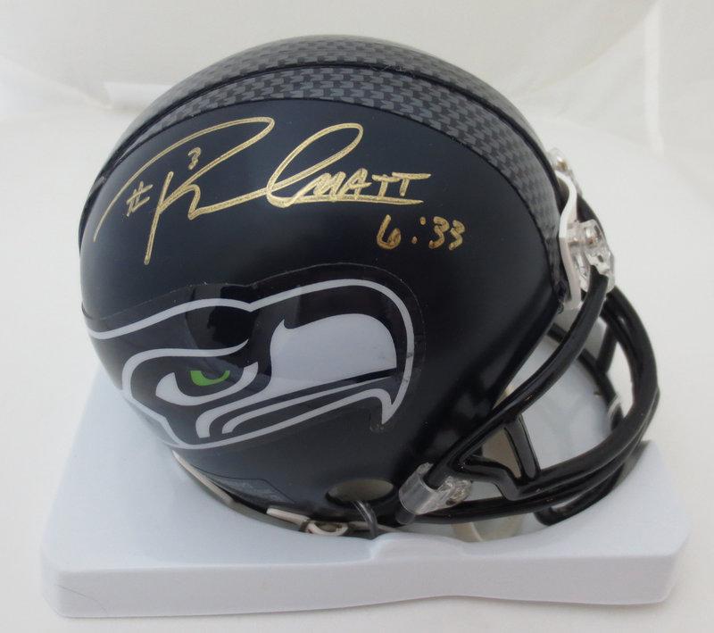2c45cb0a34c Russell Wilson Autographed Seattle Seahawks Football Mini Helmet ...