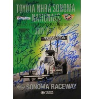 Toyota NHRA Sonoma Nationals (2016) Signed 12x17 Poster by Robert Hight, Courtney Force, Jack Beckman, Matt Hagan, Tommy Johnson Jr., John Force, Tim Wilkerson, Ron Capps, Cruz Pedregon, Robert Tasca III, Shaw Langdon, J.R. Todd, James Campbell, Jonnie Lindberg, Leah Pritchett, Richie Crampton, Clay Millican, Terry Mc Millen, Tony Schumacher, Antron Brown, Doug Kalitta, Steve Torrence, Brittany Force. Plus a few more. 30 signatures total.