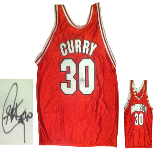 kxhno Stephen Curry Signed Davidson Basketball Jersey JSA COA Warriors