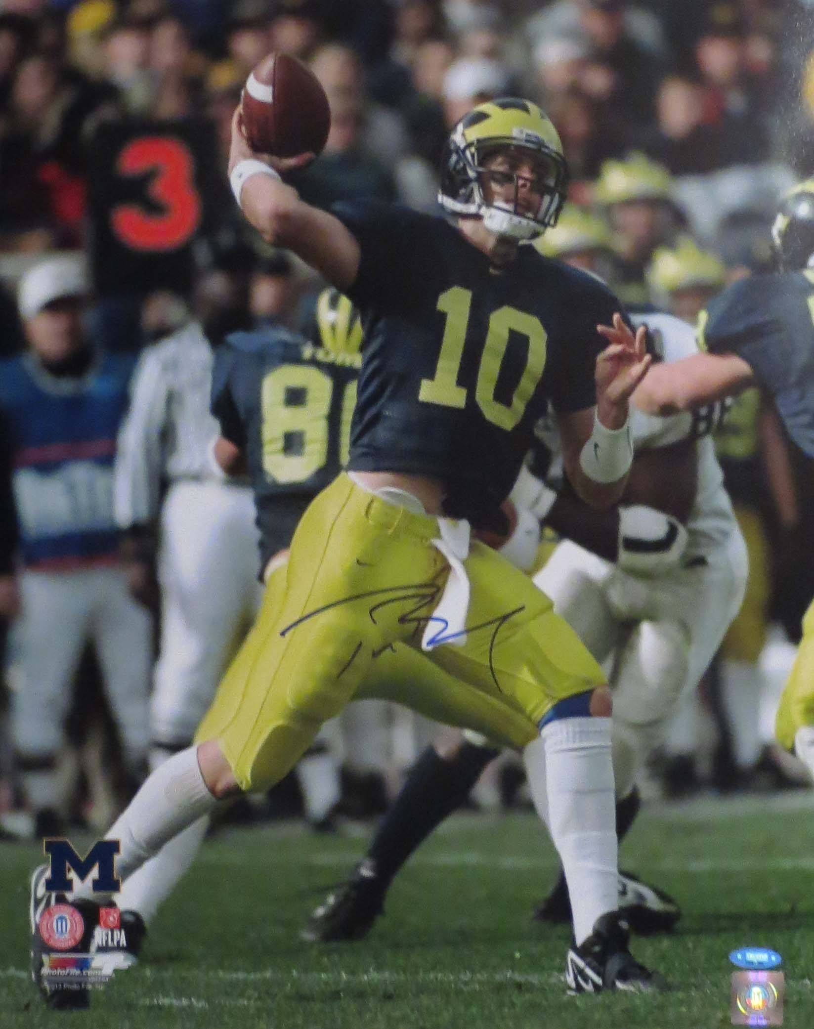 08437807b78 Tom Brady Autographed Michigan 16x20 Signed Football Photo TRISTAR COA