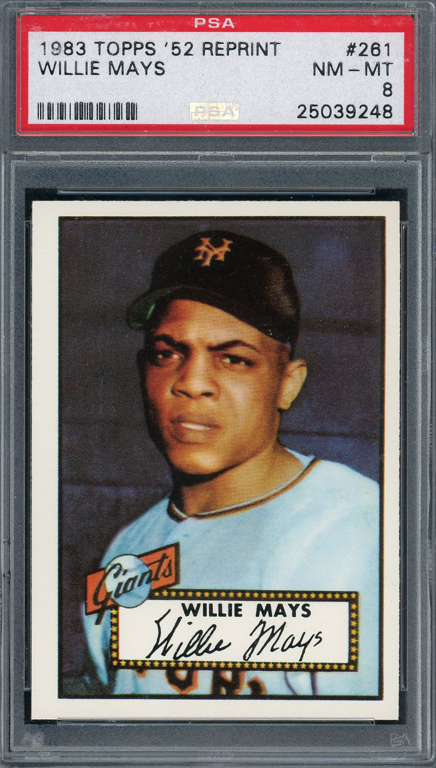 Willie Mays San Francisco Giants 1983 Topps 1952 Reprint Baseball Card #261 Graded PSA 8 Willie Mays San Francisco Giants 1983 Topps 1952 Reprint Baseball Card #261 Graded PSA 8