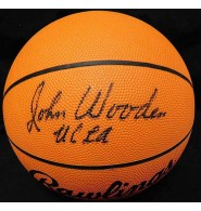 Wooden, John Signed Full Size Rawlings NCAA Basketball. (JSA Letter of Authenticity)