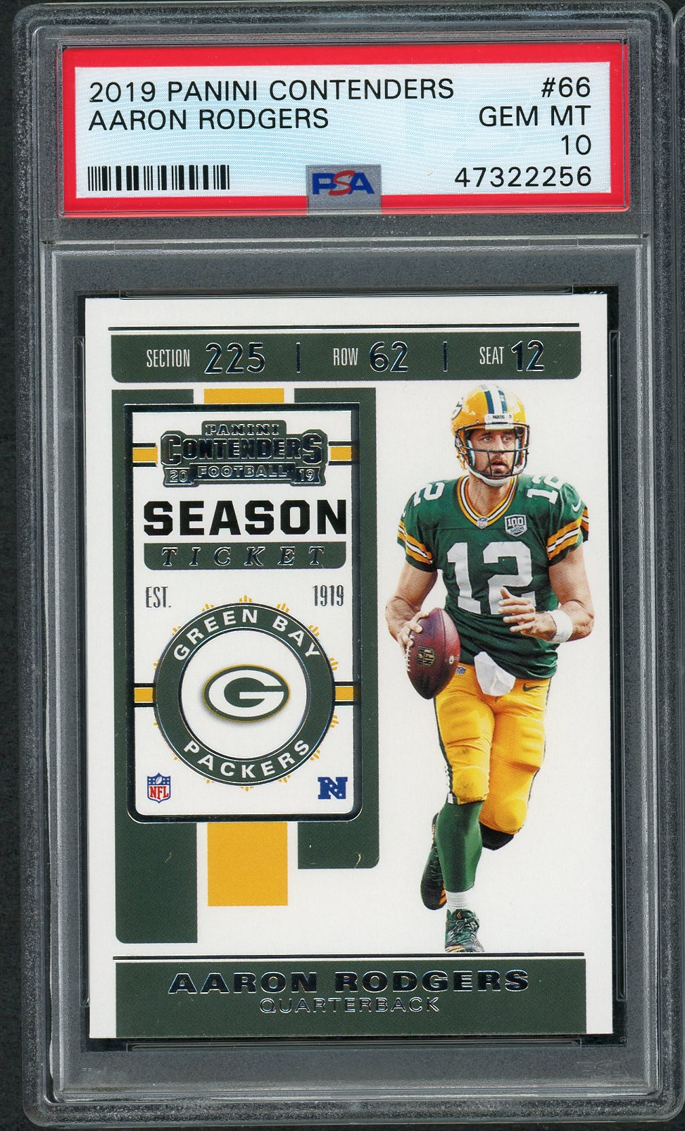Aaron Rodgers Green Bay Packers 2019 Panini Contenders Football Card #66 Graded PSA 10 GEM MINT Aaron Rodgers Green Bay Packers 2019 Panini Contenders Football Card #66 Graded PSA 10 GEM MINT