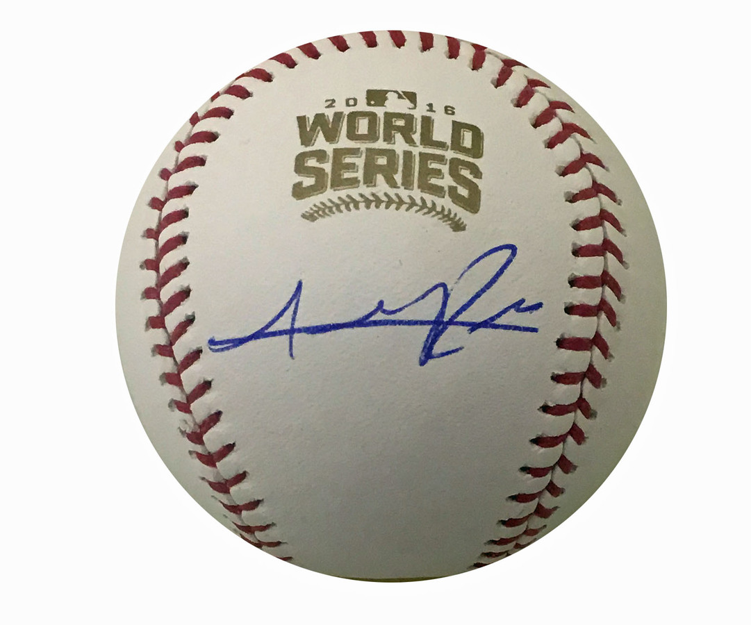 Addison Russell Autographed Cubs 2016 World Series Signed Baseball COA 1