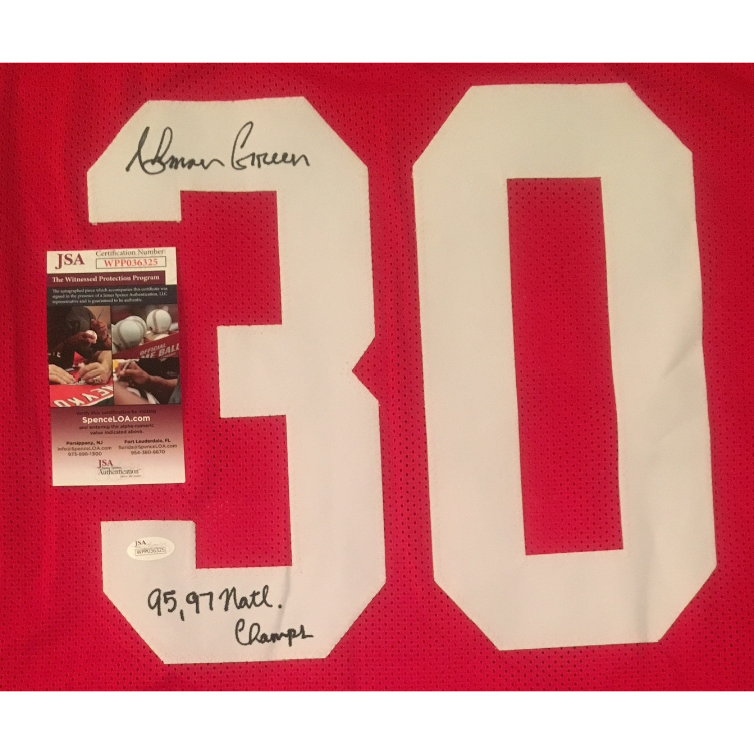 Ahman Green and Grant Wistrom Nebraska Autographed Football Signed Jersey Package JSA COA