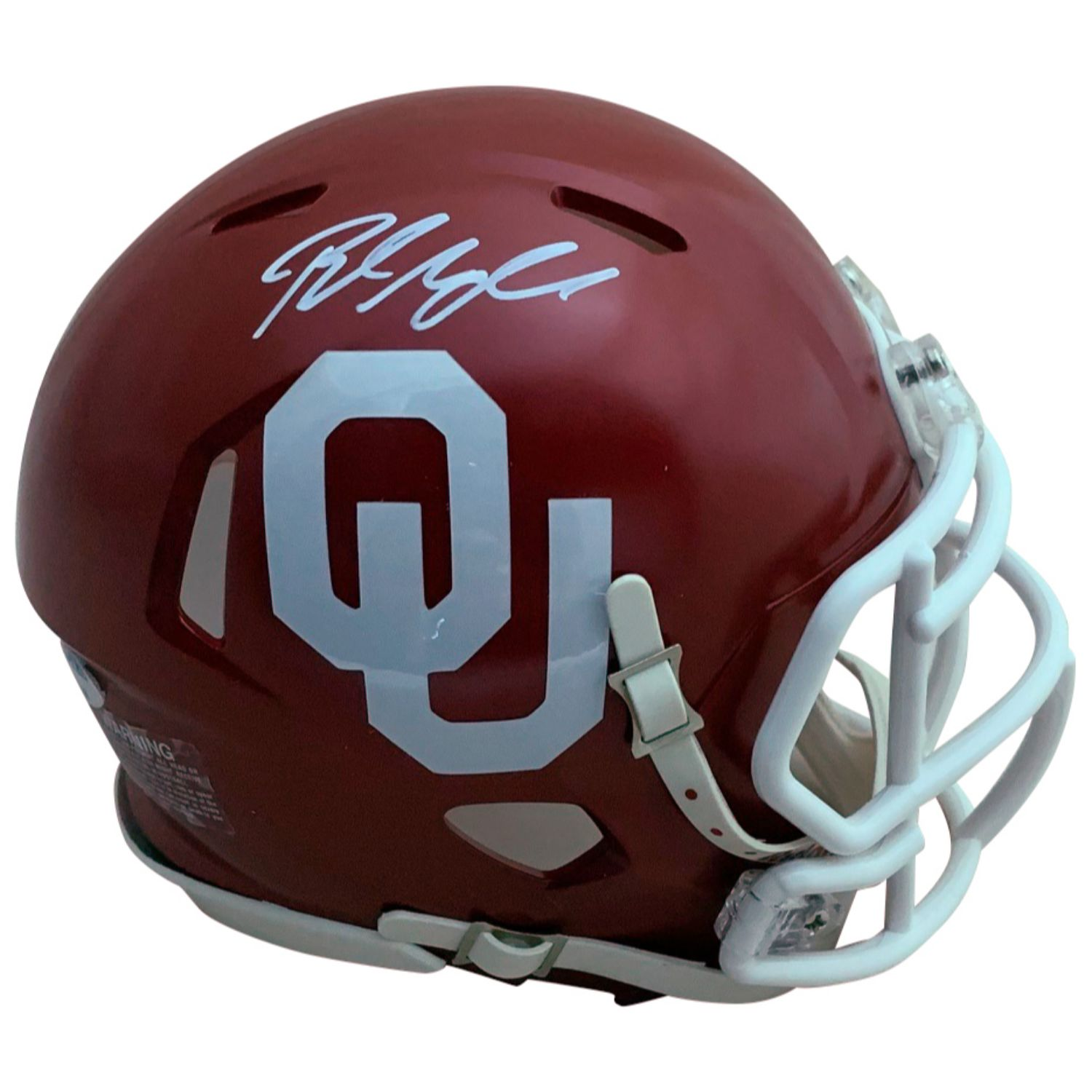 Baker Mayfield Autographed Oklahoma Sooners Signed Football Speed Mini Helmet PSA DNA COA