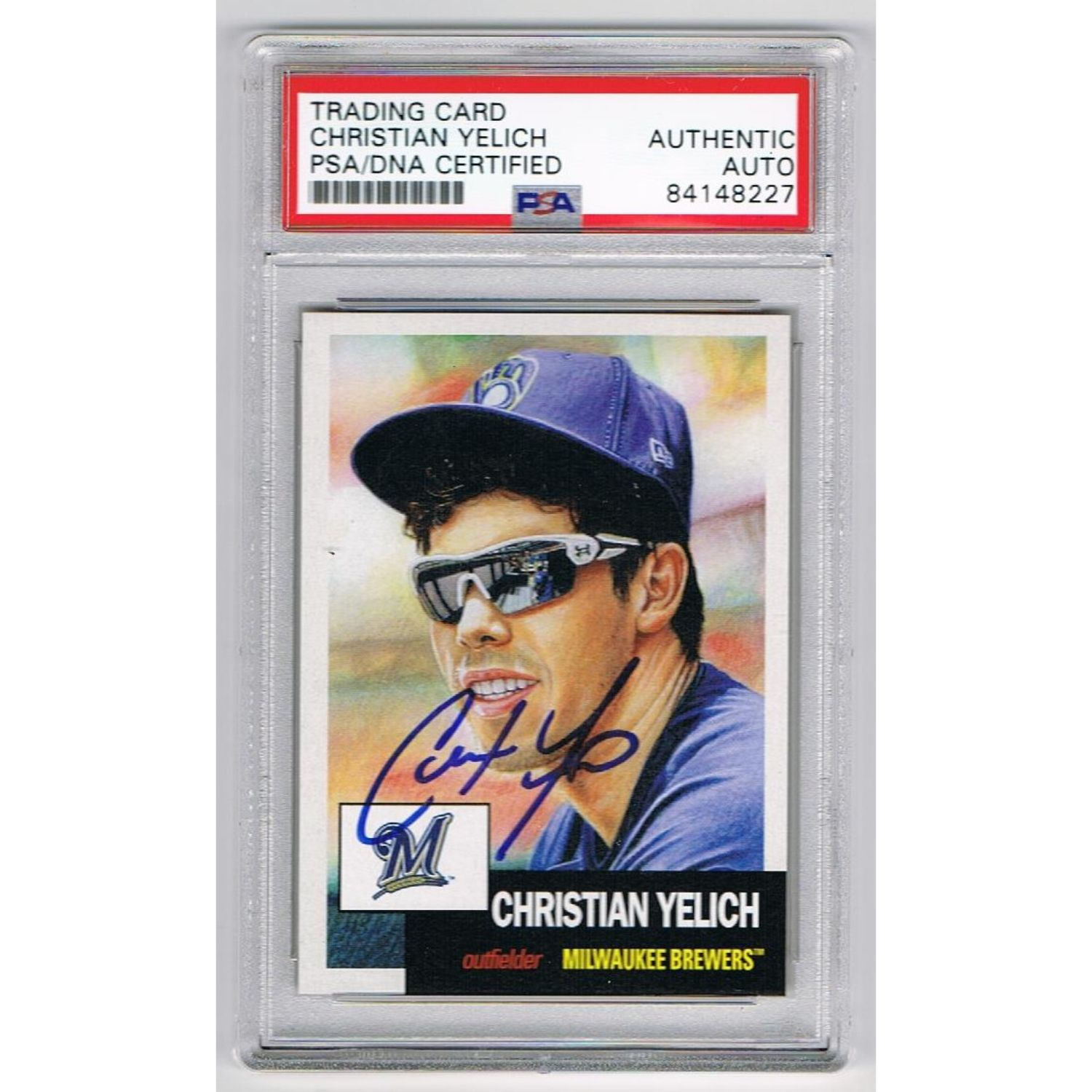 Christian Yelich Milwaukee Brewers Autographed 2018 Topps Living Signed Baseball Trading Card PSA DNA COA