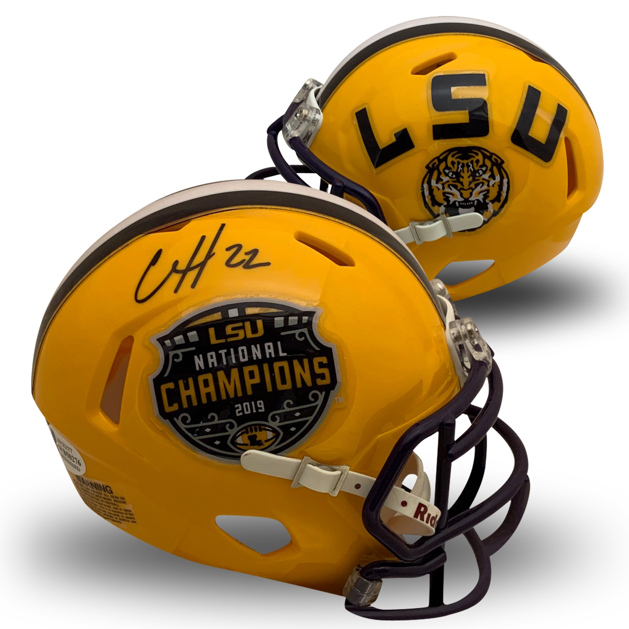 Clyde Edwards-Helaire Autographed LSU Tigers 2019 National Champions Signed Football Speed Mini Helmet Beckett BAS COA