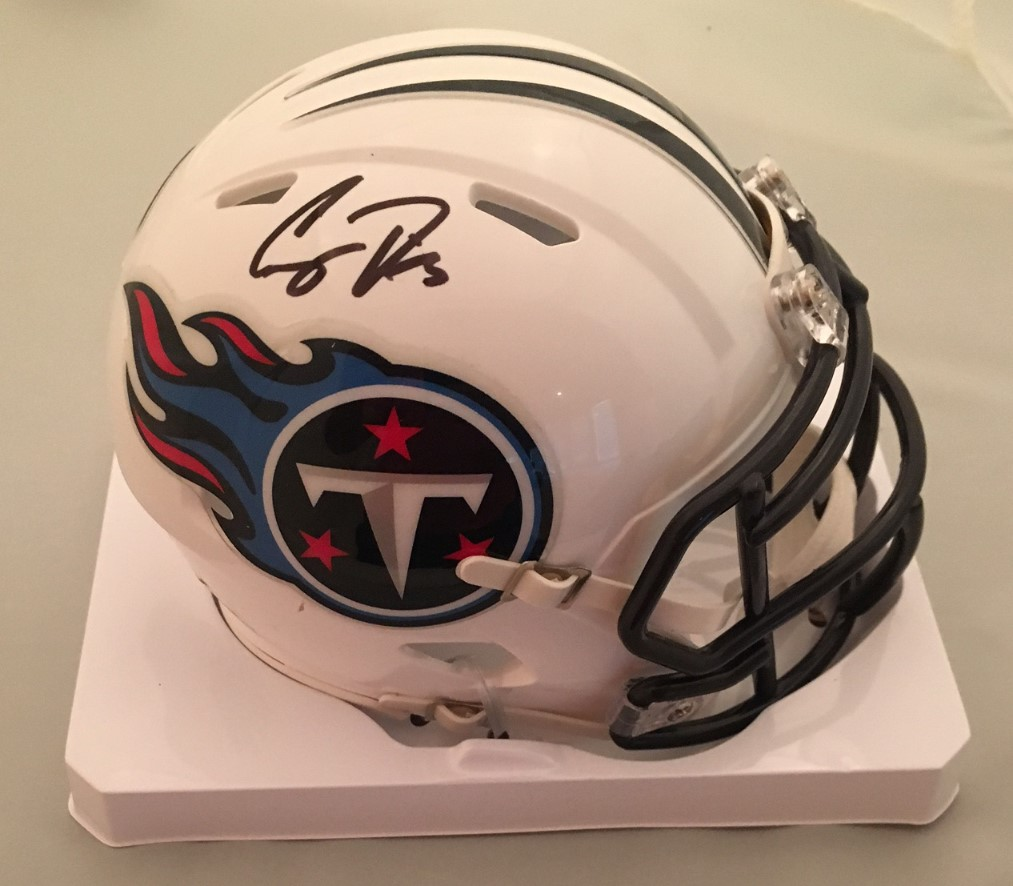 "Corey Davis Autographed Tennessee Titans Signed Football Mini Helmet JSA COA Tennessee Titans 2017 1st round draft pick Corey Davis and NCAA's all-time leader in receiving yards at Western Michigan has signed this officially licensed Titans mini helmet.  Autograph is authenticated by James Spence Authentication (JSA). Comes with JSA certificate of authenticity and matching sticker verified on their website. JSA is one of the worlds leading authenticator of autographs. It is a ""witness"" COA, meaning a representative from JSA was present for the signing with Davis and witnessed him signing your item."