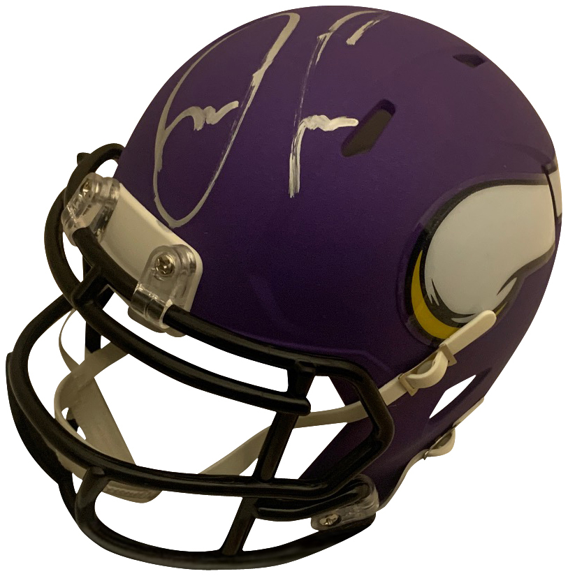 "Dalvin Cook Autographed Minnesota Vikings NFL Signed Football Mini Helmet PSA DNA COA Vikings star running back Dalvin Cook has autographed this officially licensed Minnesota Vikings mini helmet.  Mini helmets measure 6x5x4."" Autograph is authenticated by PSA/DNA, the world's leading authenticator of sports autographs. Comes with their unique sticker # fixed to the item and verified on their website. Also, comes with their certificate of authenticity with same matching #."