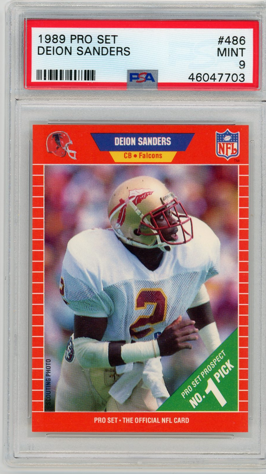 Deion Sanders Florida State Seminoles 1989 Pro Set Football Rookie Card RC #486 Graded PSA 9 MINT Deion Sanders Florida State Seminoles 1989 Pro Set Football Rookie Card RC #486 Graded PSA 9 MINT