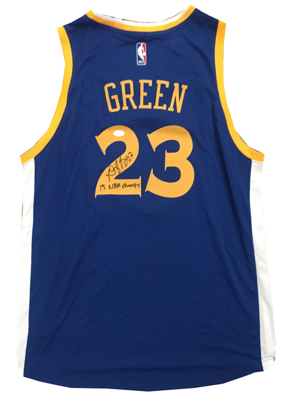 Draymond Green Signed 15 NBA CHAMPS Warriors Jersey from Powers Autographs