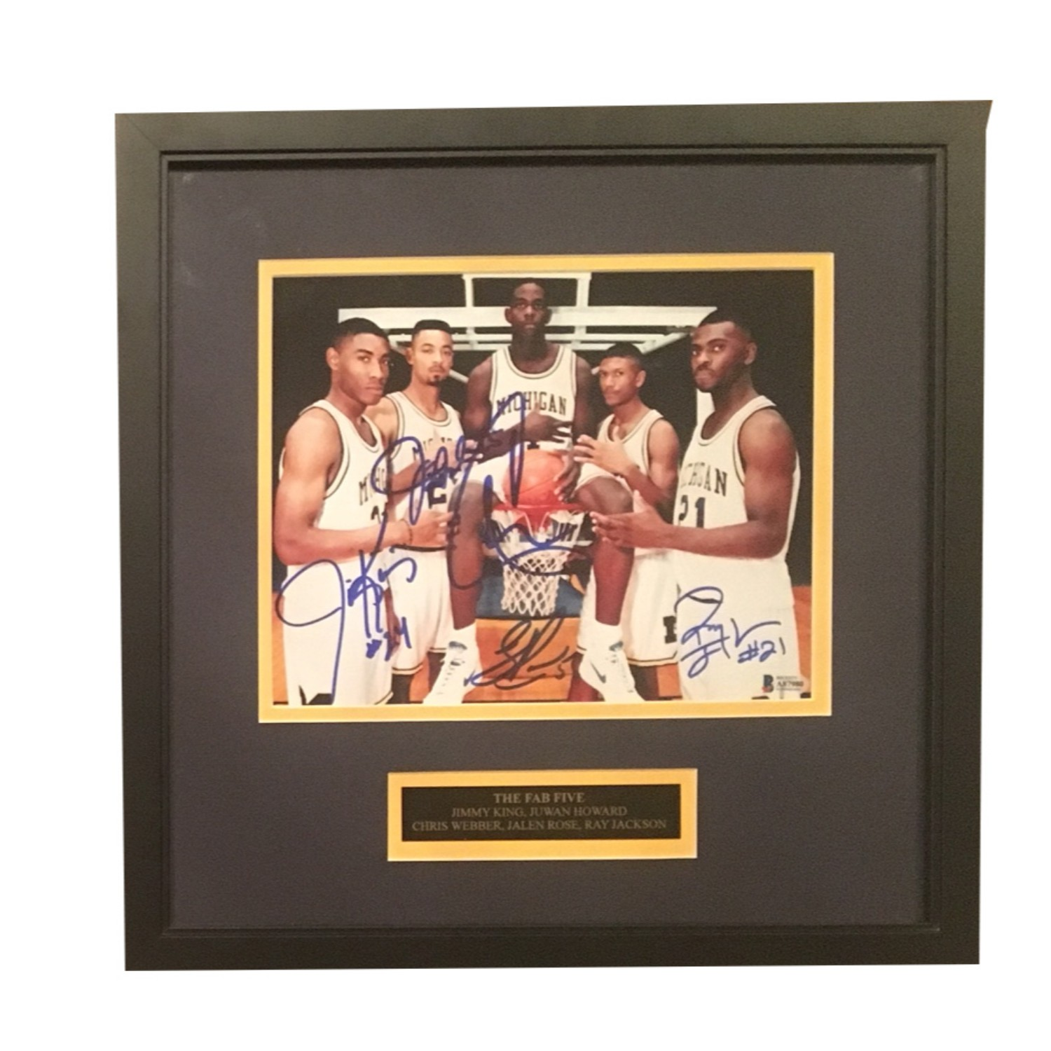 buy popular c319c cb3f6 Fab Five Autographed Michigan Basketball Signed 8x10 Photo ...