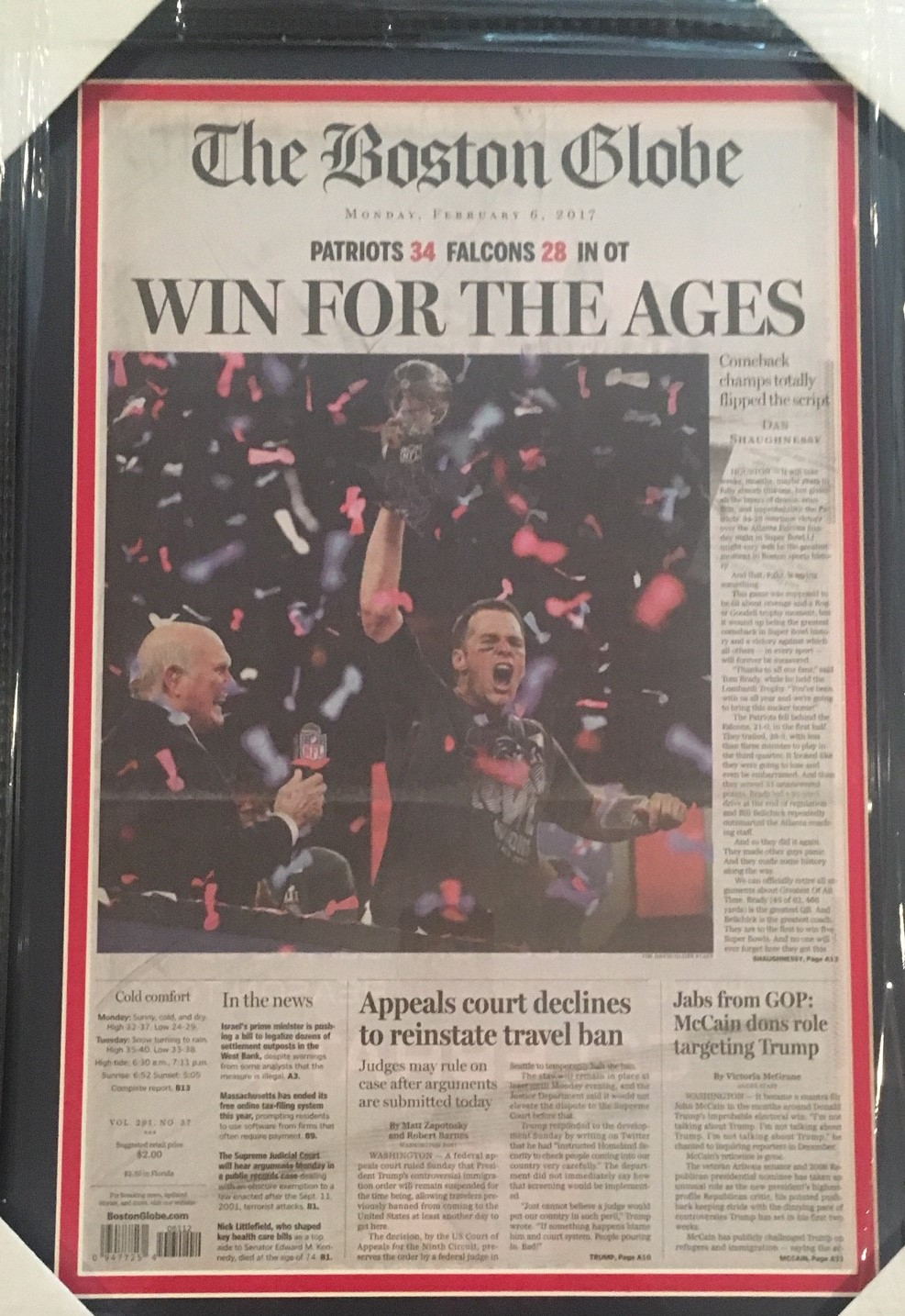 Patriots Framed Super Bowl Newspaper from Powers Autographs