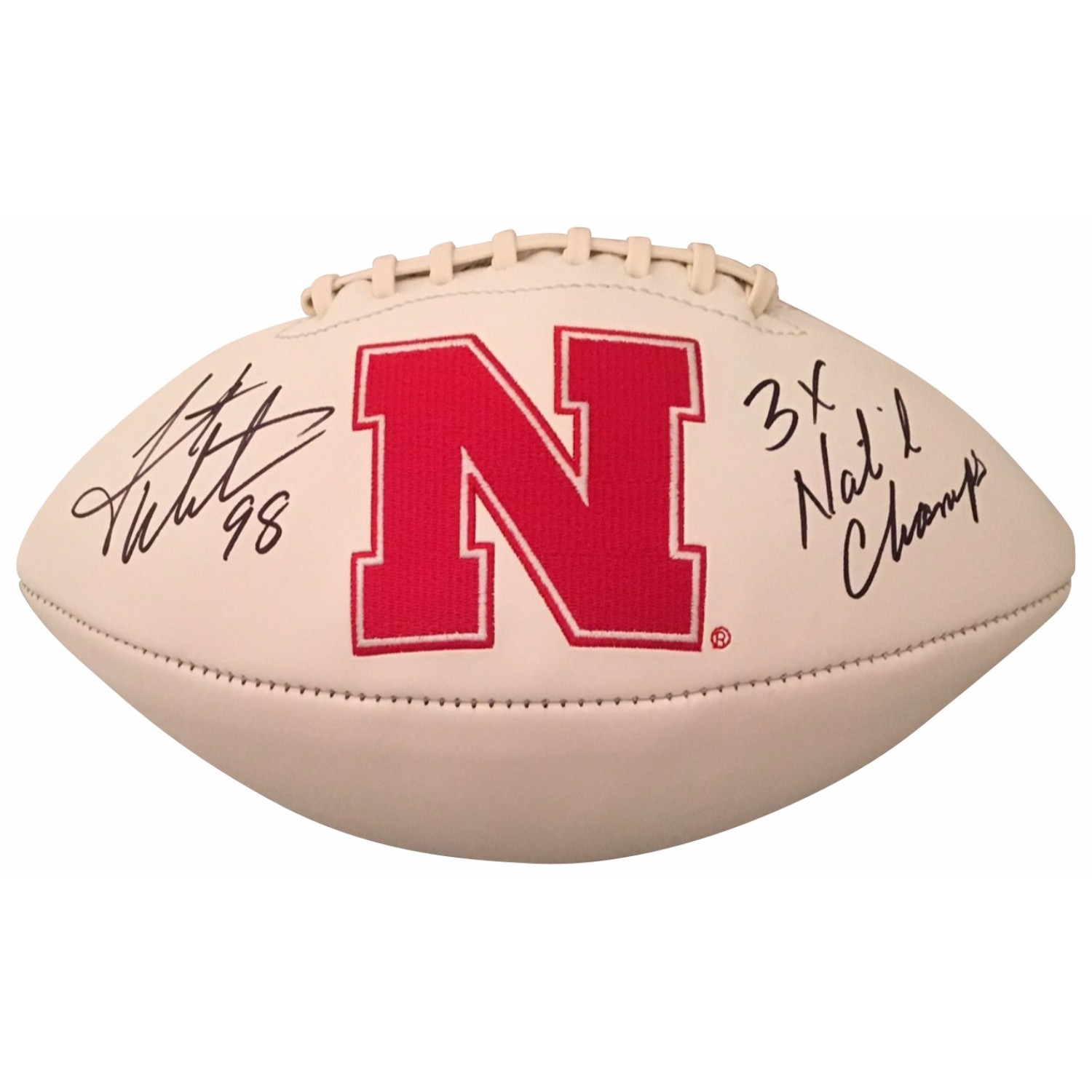 Grant Wistrom Autographed Nebraska Signed Logo Football 3 X CHAMPS Former Nebraska 3 x NCAA Champion and College Football Hall of Famer Grant Wistrom has signed this officially licensed Nebraska full size white panel logo football and written 3 x NATL CHAMP. Autographed on 9/29/17. Item will come with a photo of Grant signing this type of item and a COA from Powers Sports Memorabilia who conducted the signing.
