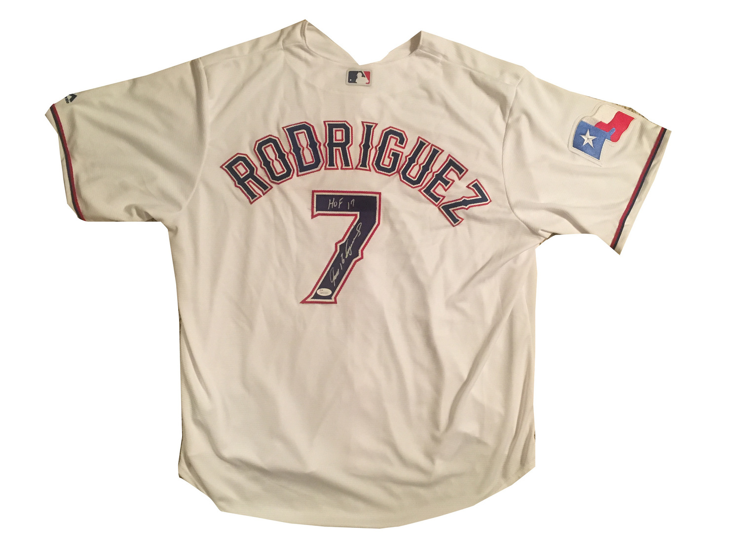 Ivan Rodriguez Signed Rangers HOF Jersey from Powers Autographs