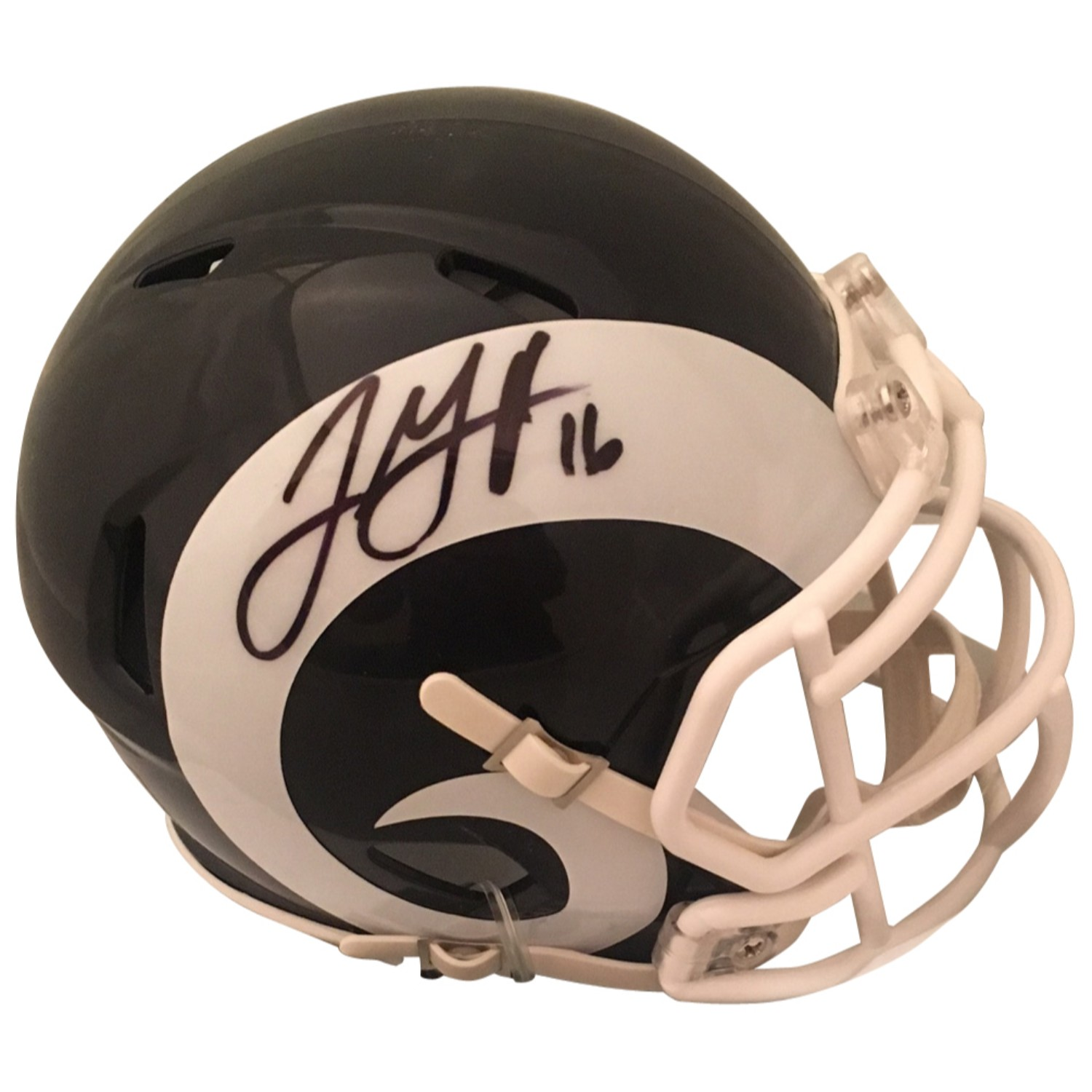 Jared Goff Autographed Los Angeles Rams Signed Football Mini Helmet PSA DNA COA 1 Rams superstar Quarterback Jared Goff has signed this officially licensed Los Angeles Rams mini helmet. Autograph is authenticated by PSA/DNA, the world's leading authenticator of sports autographs. Comes with their unique sticker # fixed to the item and verified on their website. Also, comes with their certificate of authenticity with same matching #.