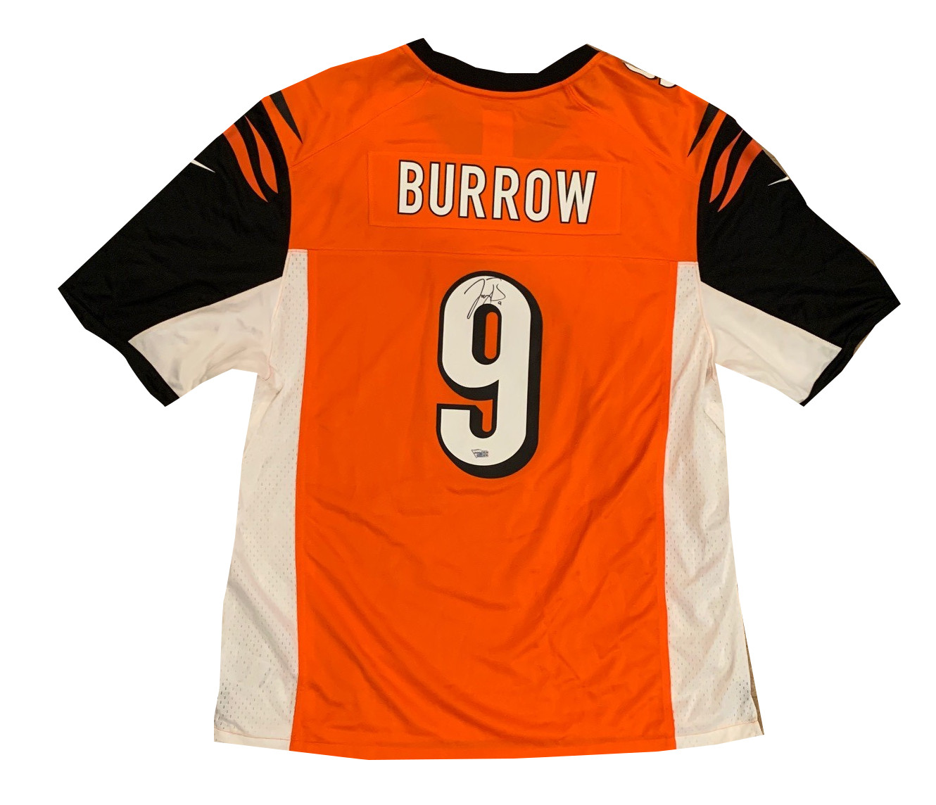 Joe Burrow Autographed Cincinnati Bengals Signed Orange NFL Nike Game Football Jersey Fanatics Authentic COA