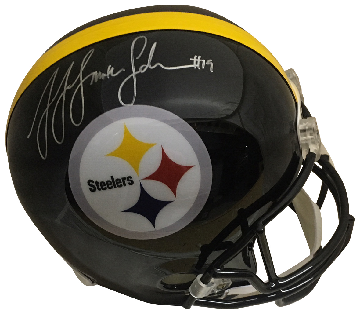 JuJu Smith Schuster Autographed Pittsburgh Steelers Signed Full Size Football Helmet PSA DNA COA Steelers star wide receiver JuJu Smith-Schuster has autographed this officially licensed Steelers full size replica helmet.  Autograph is authenticated by PSA/DNA, the world's leading authenticator of sports autographs. Comes with their unique sticker # fixed to the item and verified on their website. Also, comes with their certificate of authenticity with same matching # Receive exact item shown.