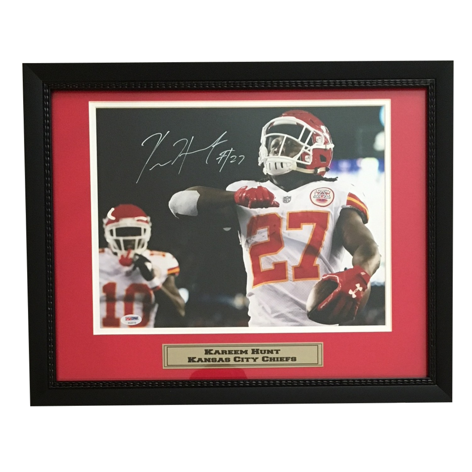 Kareem Hunt Autographed Kansas City Chiefs Signed 11x14 Football Framed Photo PSA DNA COA