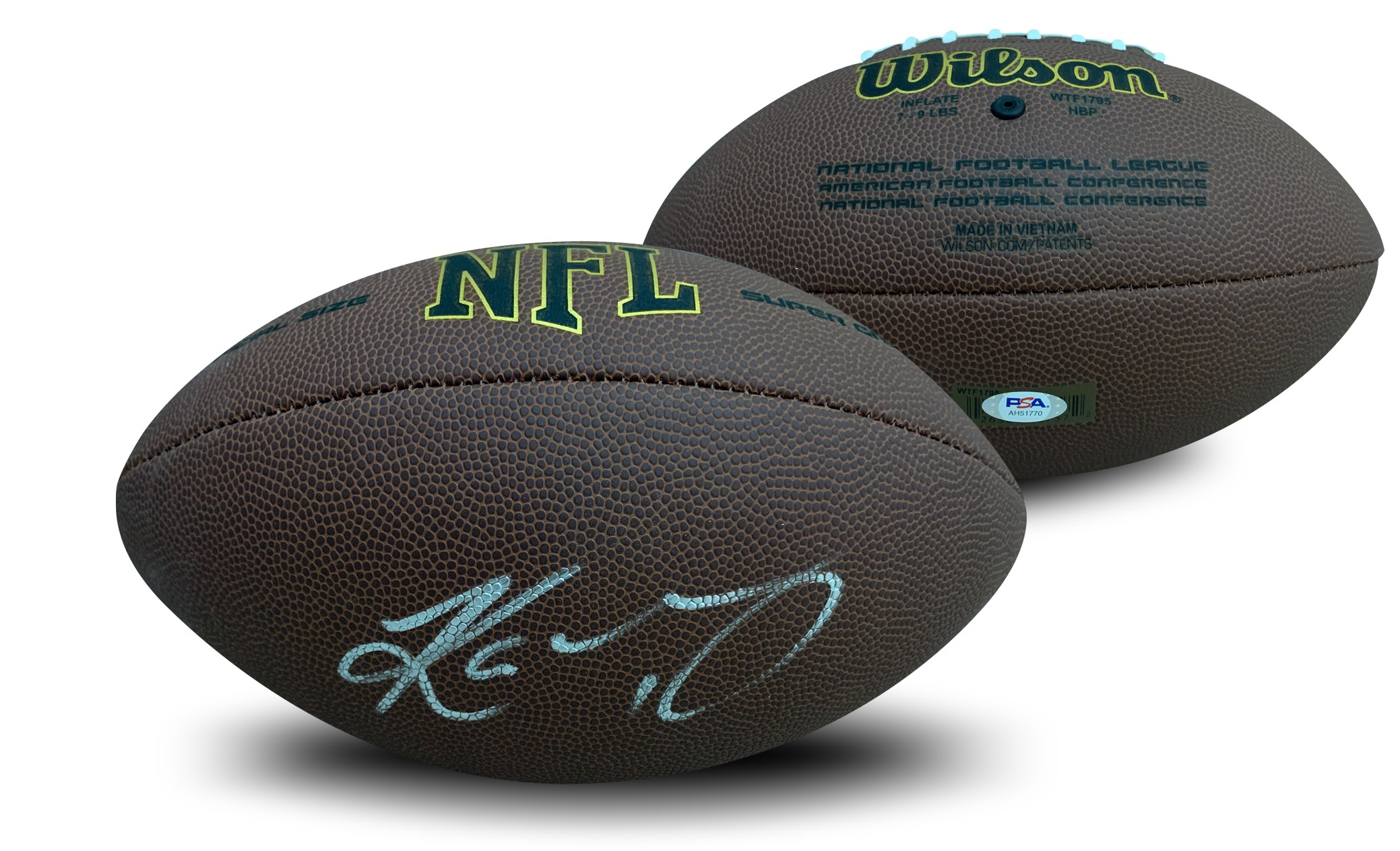 Kyler Murray Autographed Arizona Cardinals Signed NFL Replica Full Size Football PSA DNA COA Arizona Cardinals star Quarterback Kyler Murray has autographed this officially licensed full size NFL replica football.  Autograph is authenticated by PSA/DNA, the world's leading authenticator of sports autographs. Comes with their unique sticker # fixed to the item and verified on their website. Also, comes with their certificate of authenticity with same matching #.