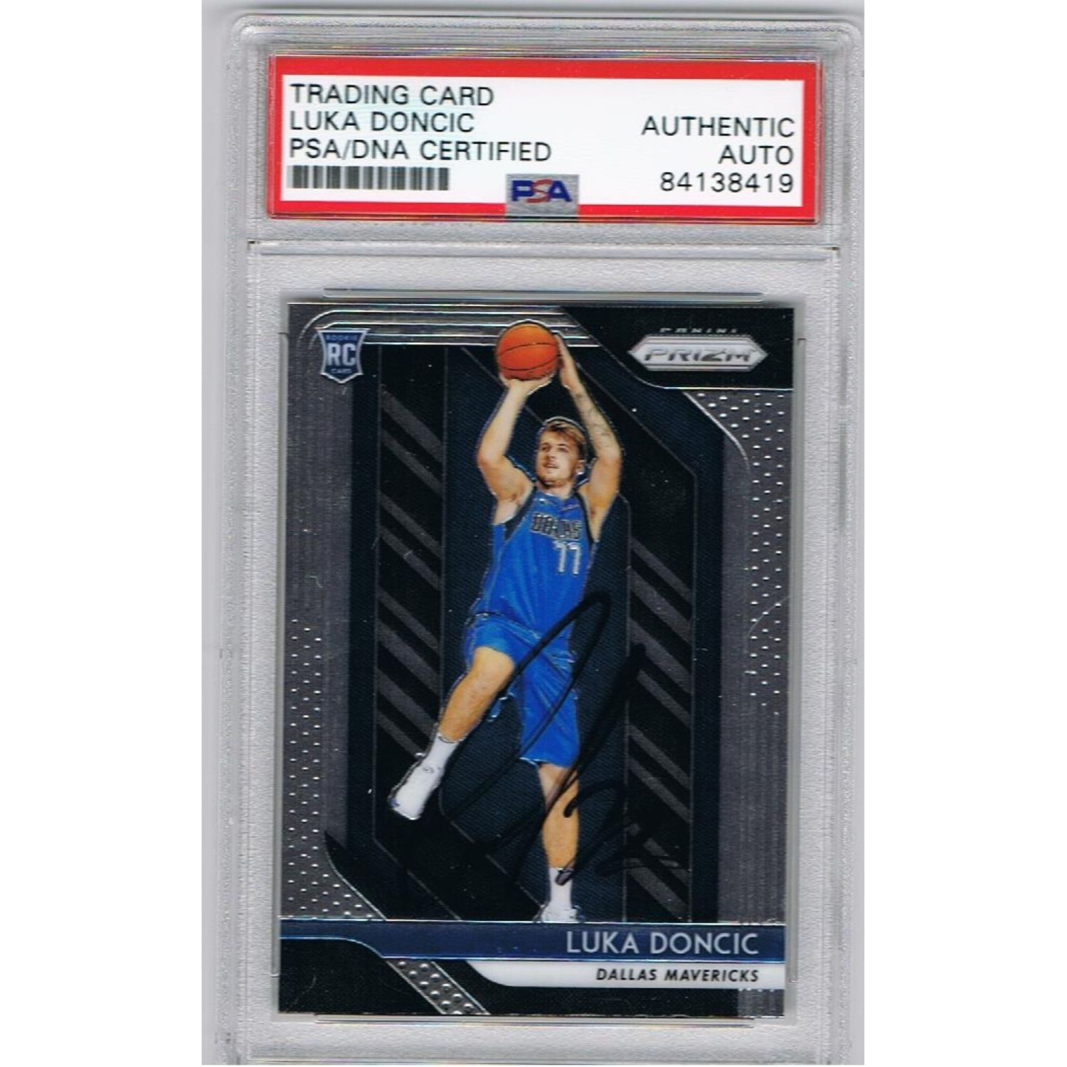 Luka Doncic Dallas Mavericks Autographed Panini Prizm Signed Basketball Rookie Trading Card RC PSA DNA