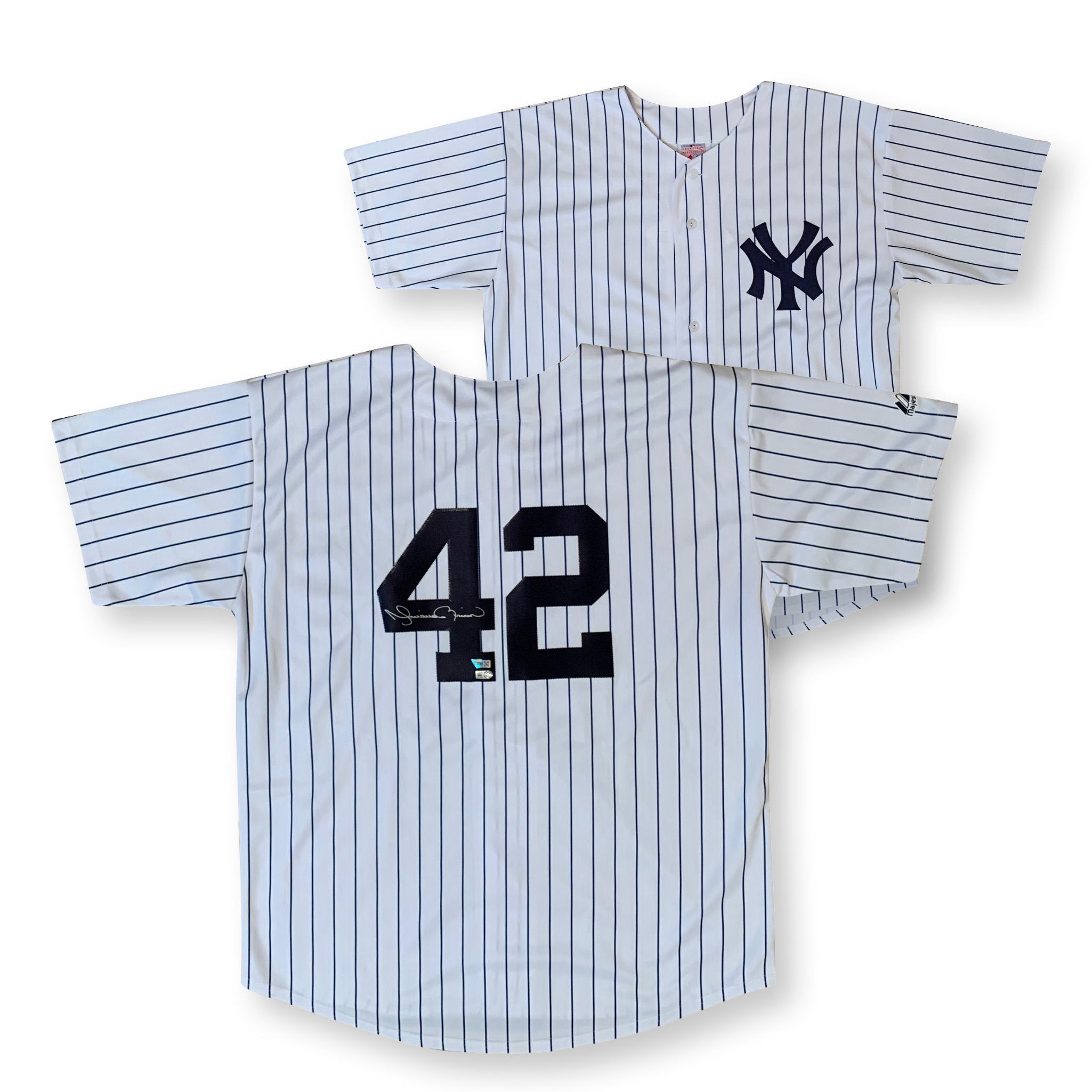 Mariano Rivera Autographed New York Yankees Signed Baseball Jersey Fanatics Authentic MLB COA Yankees Hall of Famer Mariano Rivera has autographed this officially licensed Yankees replica jersey.  Size XL, name and numbers sewn on.  Autograph is authenticated by Major League Baseball and Fanatics Authentic who has him as their exclusive memorabilia client. Item comes with their unique hologram # on the item that is verified on their website. 100% authentic.